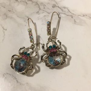 Betsy Johnson Spider Dangle Earrings